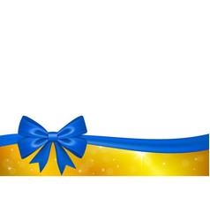 Gold gift card with blue ribbon bow isolated on vector