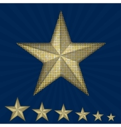 Gold sequin star on a blue background vector