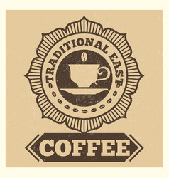 grunge cafe or coffee shop label design vector image