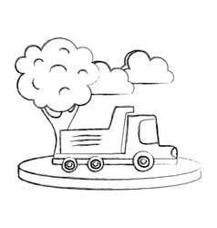 Grunge dump truck in the city with clouds and tree vector