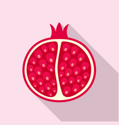 half of pomegranate icon flat style vector image
