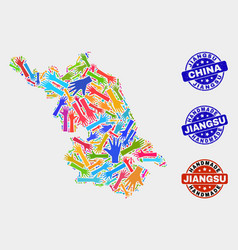 Hand collage jiangsu province map and distress vector