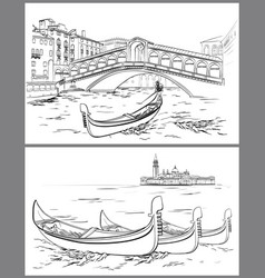 Hand drawn rialto bridge and lido island venice vector