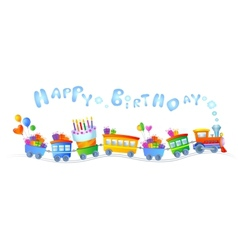 Happy birthday train vector image