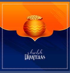 Happy dhanteras festival card design in indian vector