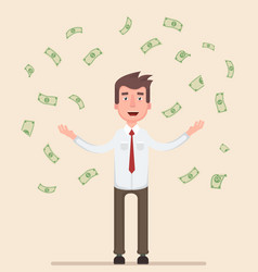 happy man enjoying the rain of money vector image