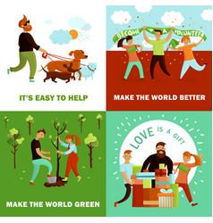 Happy volunteers design concept vector