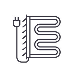 heated towel dryer line icon sign vector image