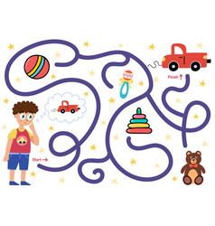 help boy find path to toy car choose vector image
