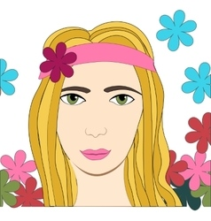 Hippie girl with flowers vector image