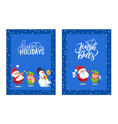 holly jolly greeting cards with lovely santa elf vector image