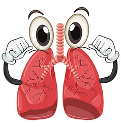 Human lung with face and arms vector image