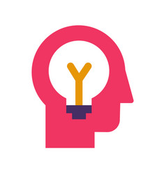 Idea generation and brainstorming flat icon vector