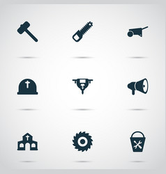 Industry icons set with cemetery milling cutter vector