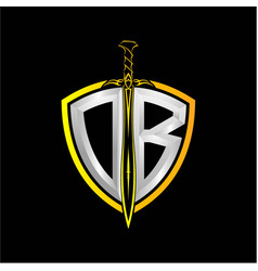 Initials o b is a shield decorated vector