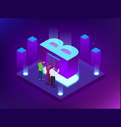 isometric abstract big data visualization vector image
