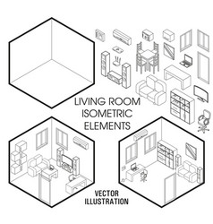 Isometric living room interior constructor vector