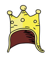 king helmet cartoon hand drawn image vector image