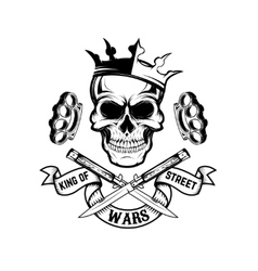 king street wars skull in crown with banner vector image