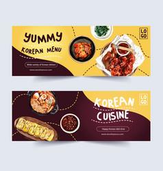 Korean food banner design with buchimgae chicken vector