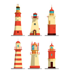 lighthouses in different styles cartoon vector image