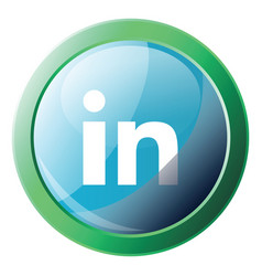 Linkedin logo bubble with green round frame icon vector