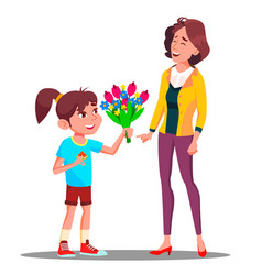 little girl gives flowers to mother happy mother vector image