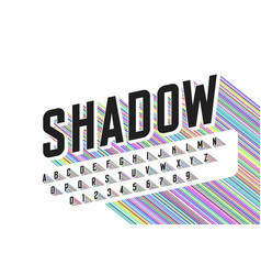 Long colorful shadow font alphabet letters and vector