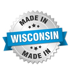 Made in Wisconsin silver badge with blue ribbon vector