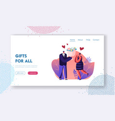 man give present to girlfriend website landing vector image