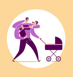 Man with four arms carries baby stroller bag vector