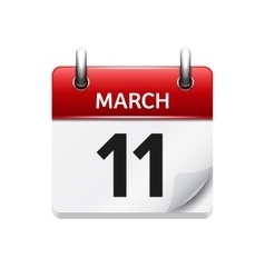 March 11 flat daily calendar icon Date vector