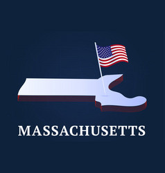 massachusetts state isometric map and usa vector image