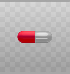 medical drug red and transparent capsules vector image