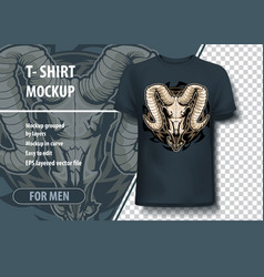mockup template with ram skull layout as an offer vector image