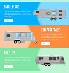 Modern camping trailer flyers set vector