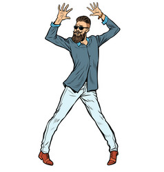 Modern young man hipster dancing vector