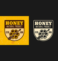 natural honey product two colored emblems vector image