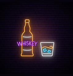 Neon whiskey sign bright light signboard vector