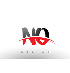 no n o brush logo letters with red and black vector image