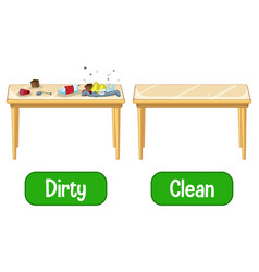 opposite adjectives words with dirty and clean vector image