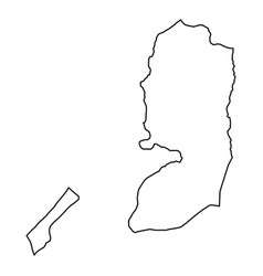 Palestine map from black contour curves lines on vector