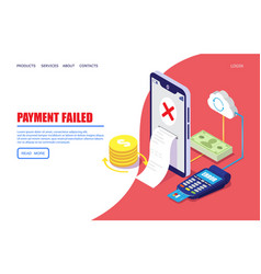 Payment failed website landing page design vector