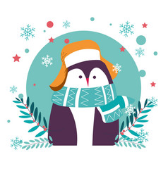 penguin animal wearing warm hat and knitted scarf vector image