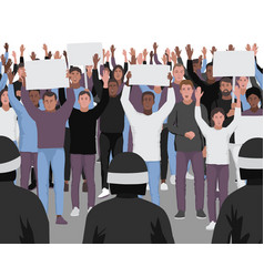 protesting people with hands up and police vector image