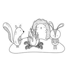 Rabbit squirrel and hedgehog cartoon design vector