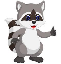 Raccoon cartoon waving vector