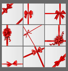 red bows and cards luxury gift card vector image