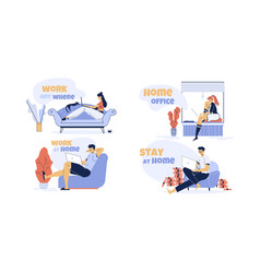 Remote work distant study at home anytime set vector