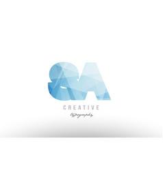Sa s a blue polygonal alphabet letter logo icon vector